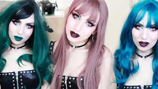 YOUVIMI WIG HAUL And Review   Trying On Affordable Wigs   3 Goth/Alternative Looks   Vesmedinia