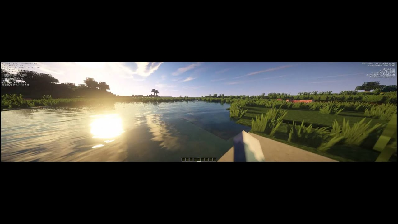 Minecraft on 4040x1024 Pixels [ultra DOF shader] [128x128 resourcepack]  [triple monitor] [GTX 760]
