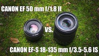 CANON EF-S 18-135 mm f/3.5-5.6 IS vs. CANON EF 50 mm f/1.8 II(Видео тест (сравнение) двух моих объективов, а именно кит который шел в комплекте с камерой Canon 600d CANON EF-S 18-135..., 2016-05-27T04:00:01.000Z)