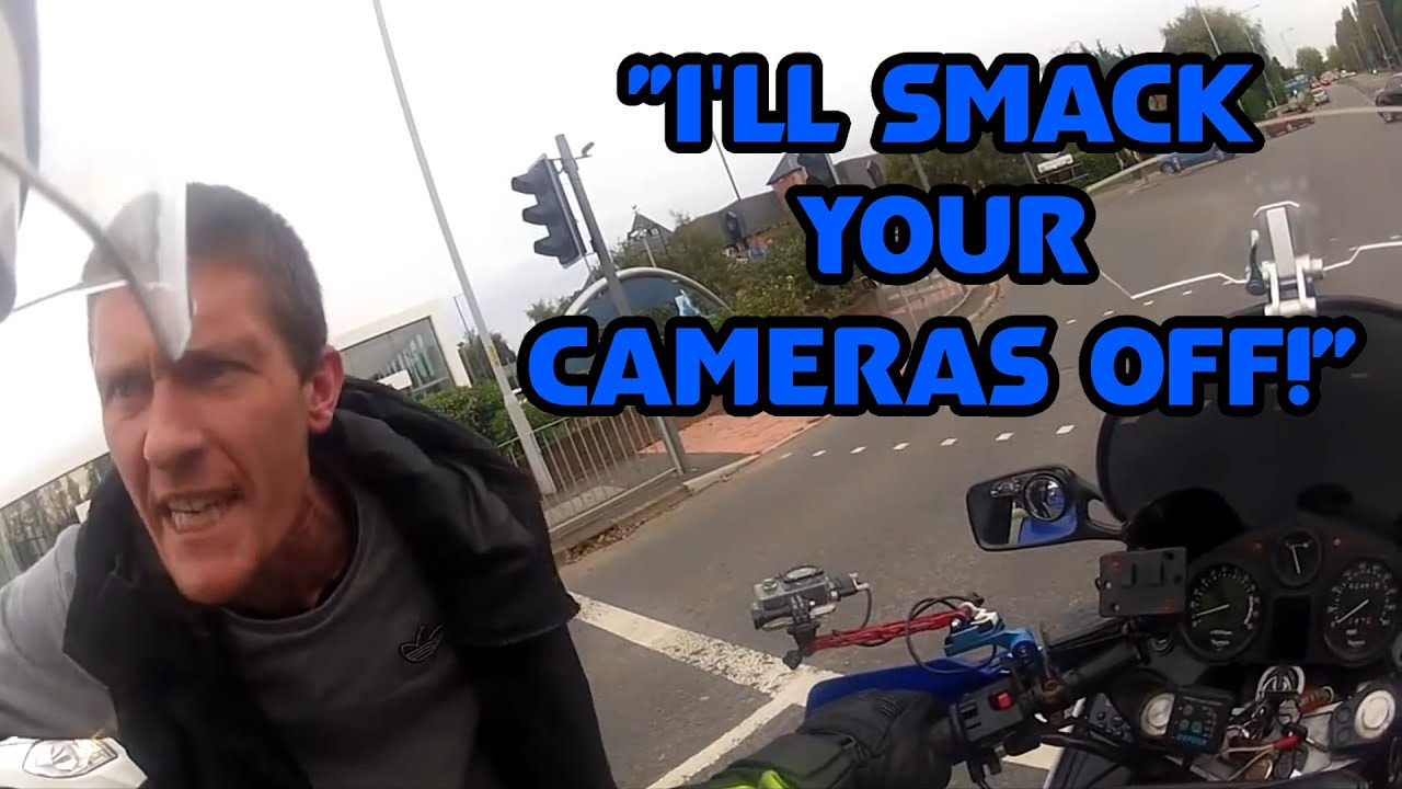 """""""I'll Smack Your Cameras Off!"""" UK Bikers vs Crazy, Angry People and Bad Drivers #116"""