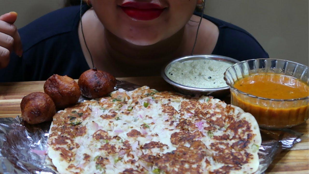 ASMR Onion Uttapam , Mysore Bonda ( EATING SOUNDS ) INDIAN FOOD   ASMR LARISA