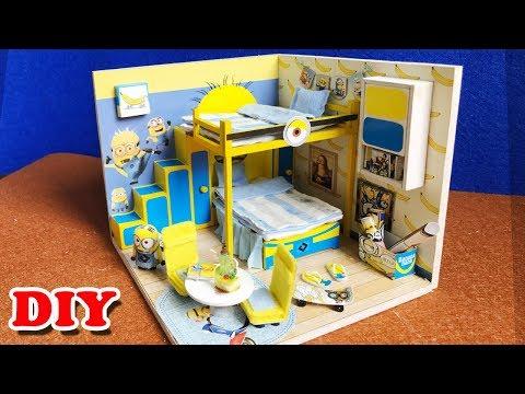 DIY Miniature Dollhouse Room Minion, Đồ chơi lắp ráp nhà búp bê mô hình tí hon (Chim Xinh)