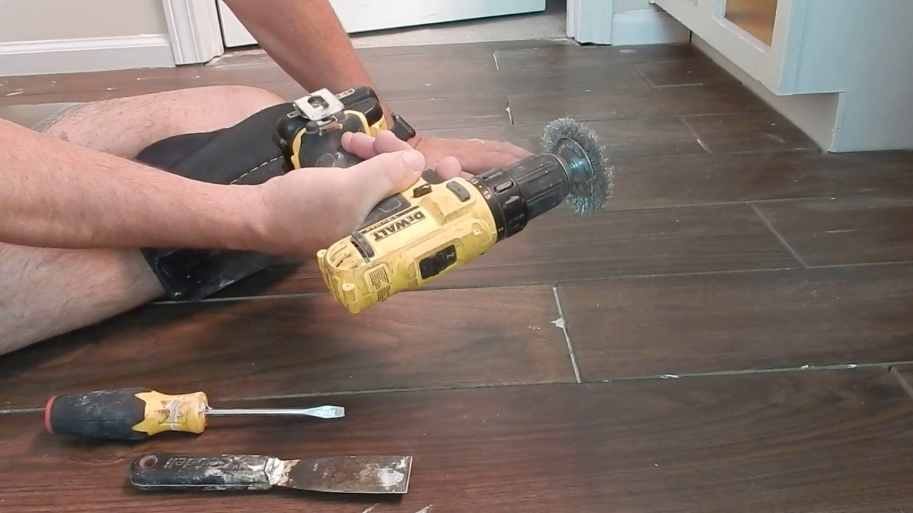 Cleaning Thinset From Grout Lines Youtube