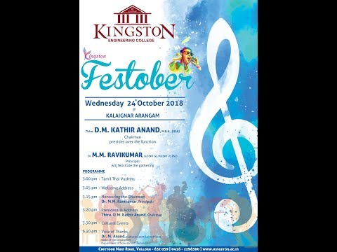 Kingston Engineering College - Festober'18 Cultural Events Live at 03.00 PM