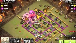 Clash Of Clans - 1 Earthquake and 2 Lightning takes out Air Defense level 6 with DRAGLOON