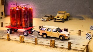 RC Chevy Tahoe ..VS.. RC Pickup Land Cruiser..VS.. RC Chevy Caprice ..Trailer Tow .. Hand-made Cars