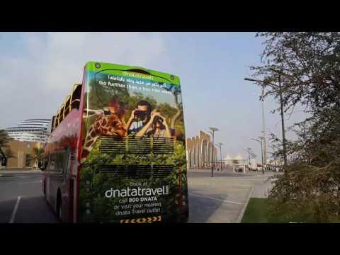 DNATA Travel busses with giraffes at Port Rashid in Dubai 16.12.2016