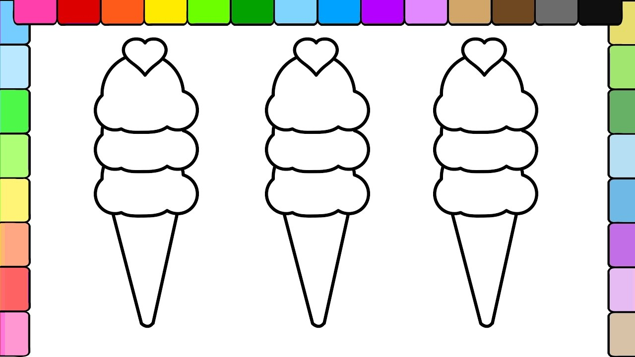 learn to colors for kids and color heart ice cream coloring pages