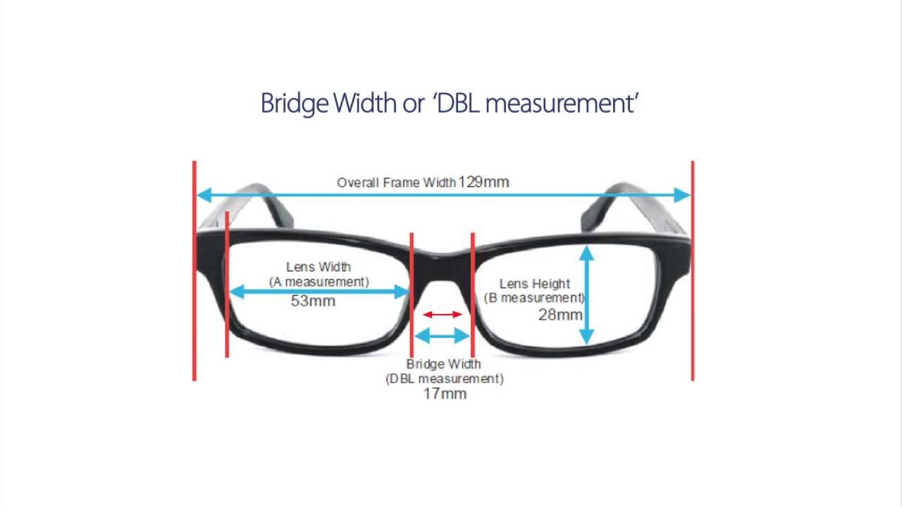 How are glasses frame sizes measured