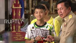 Thailand: Boys rescued from cave pray at shrine after leaving hospital