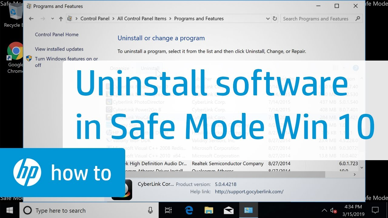 How to Uninstall Software in Windows 10 Safe Mode | HP Computers | HP