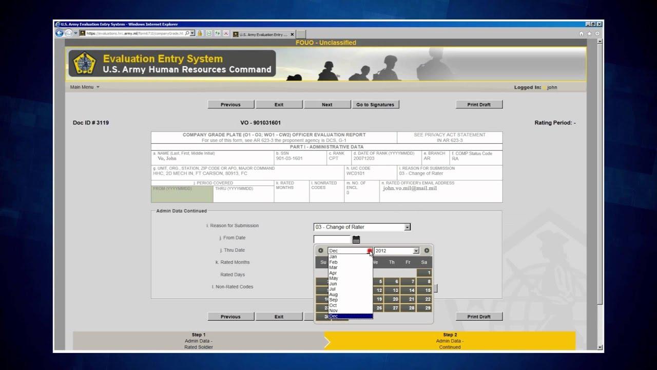 OER evaluation entry system