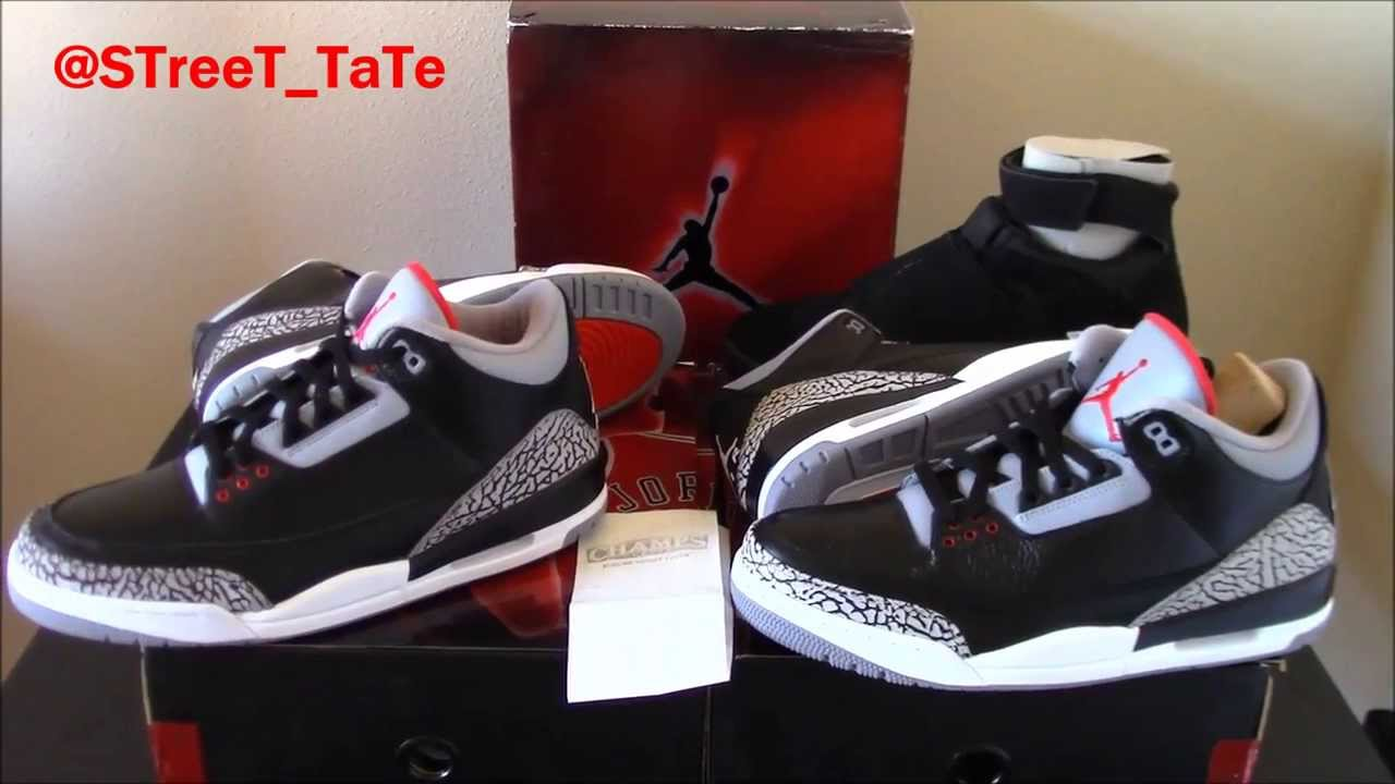 new product 210d8 4b4d7 Comparison   Review   Jordan 3 Black Cement   2008 CDP Countdown ...