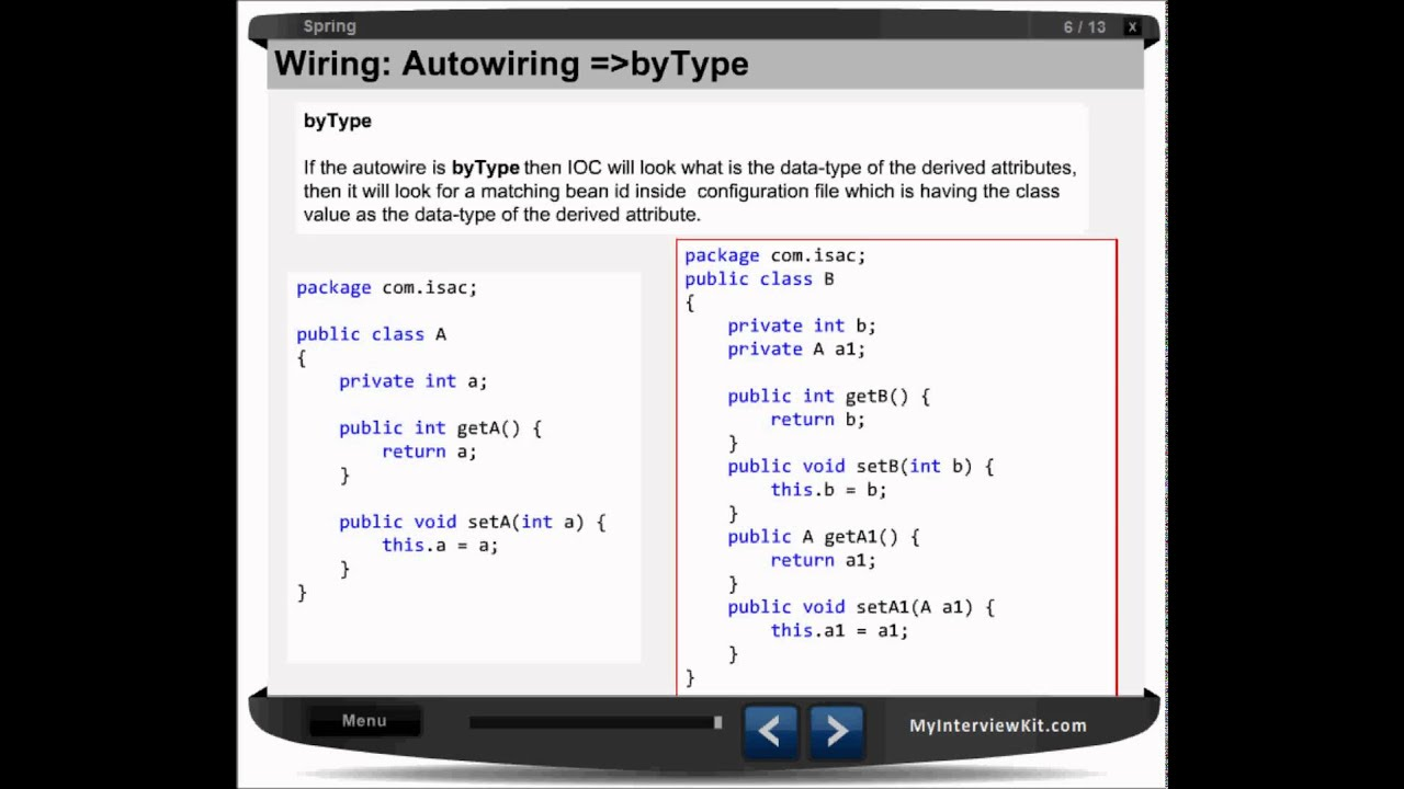 spring chapter 6 explicit auto wiring example youtube rh youtube com spring autowiring example spring writing samples