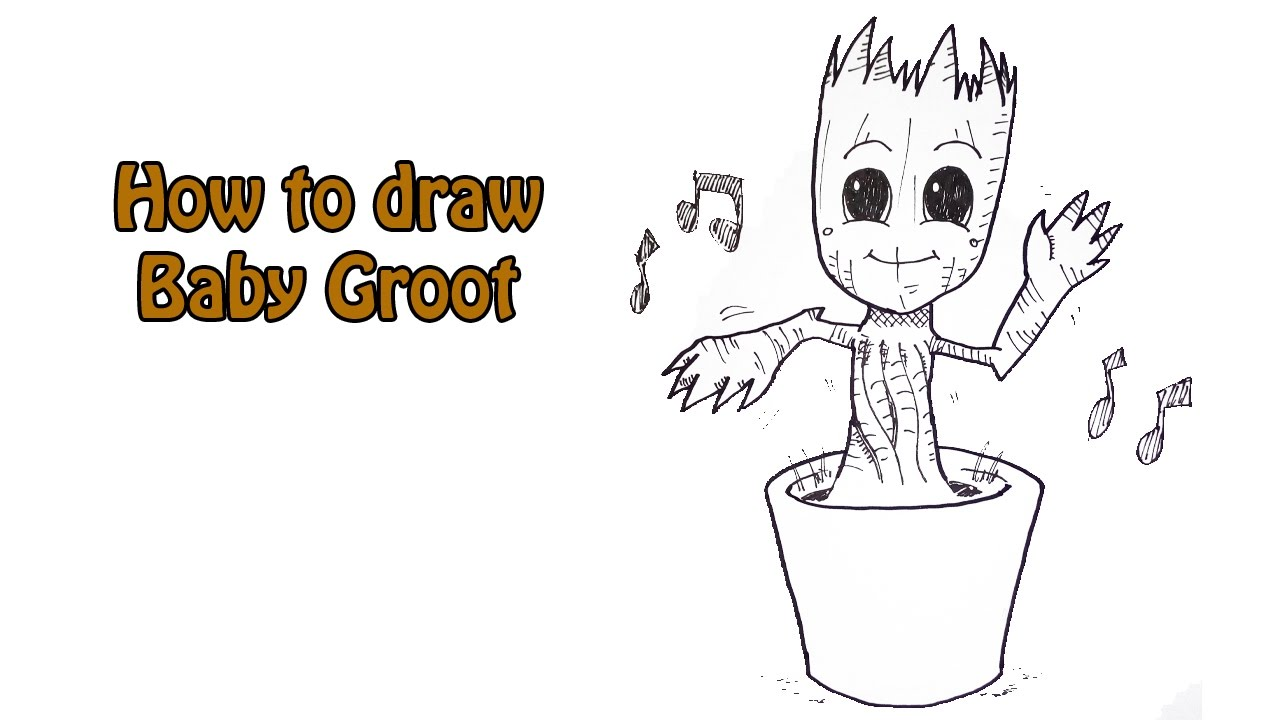How To Draw Baby Groot Youtube