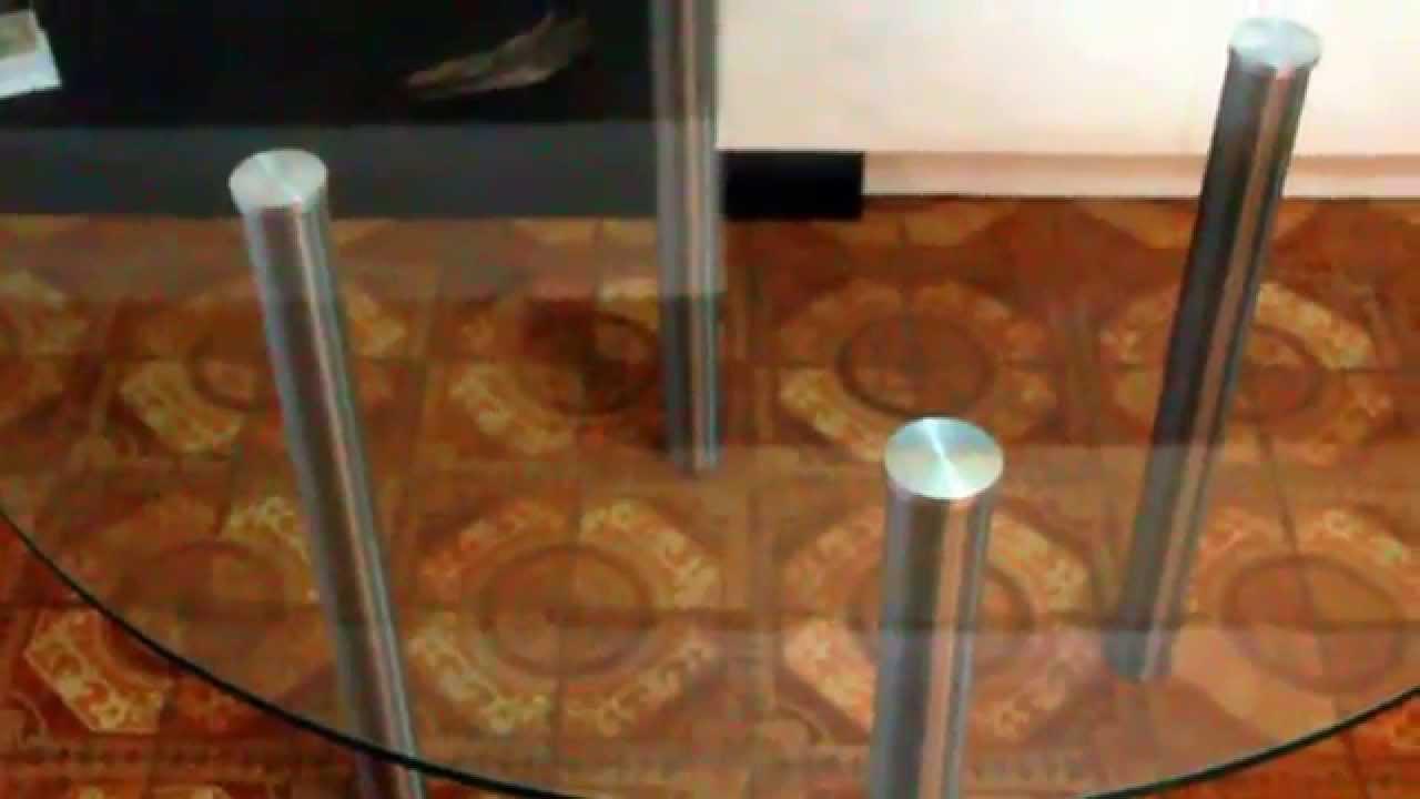 Mesa redonda de vidrio 4 patas acero inoxidable youtube for Mesas de cristal para comedor