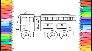 How To Draw A Fire Truck for Kids 💙💜💖  Fire Truck Drawing and Coloring Pages for Kids