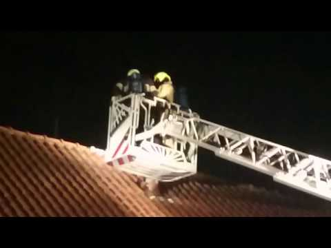 chimney fire, firefighters in action