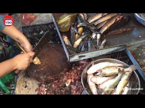Asian Street Food Market, Fast Fish Cutting Market, Cambodia Fish Market