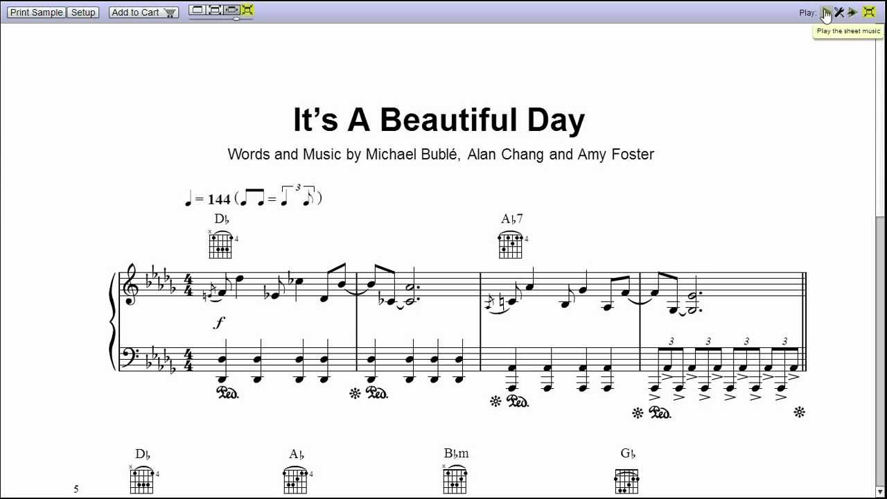 michael buble 39 s it 39 s a beautiful day piano sheet music teaser youtube. Black Bedroom Furniture Sets. Home Design Ideas