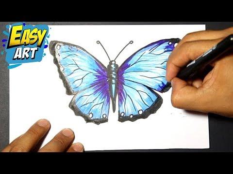 How To Draw Buterfly Como Dibujar Una Mariposa Como Pintar Una