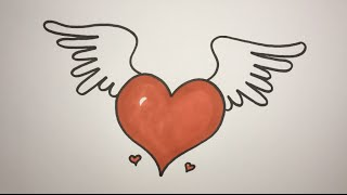 How To Draw A Heart With Wings Step By Step EASY
