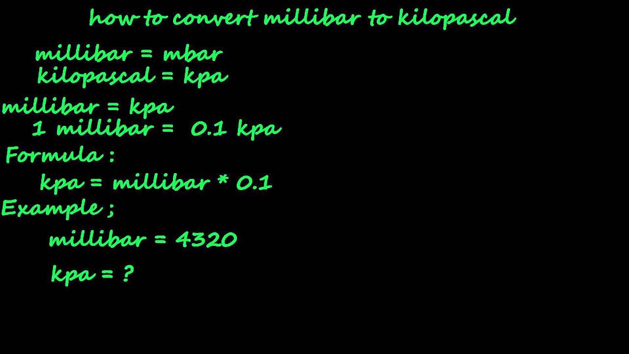 how to convert millibar to kpa - pressure converter