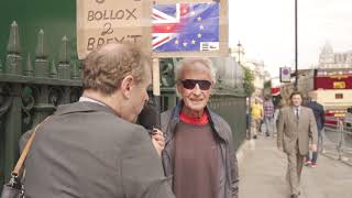 Freddy Vachha interviewing remain activists outside parliament