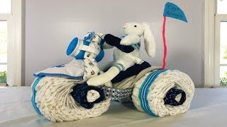 Motorcycle Tricycle Diaper Cake | Baby Nappy Cake Moto ATV (Tutorial)
