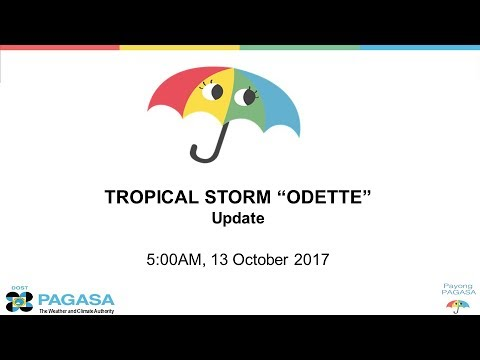 """DOST-PAGASA: Press Briefing: Tropical Storm """"#ODETTEPh"""" 5AM Friday October 13, 2017"""