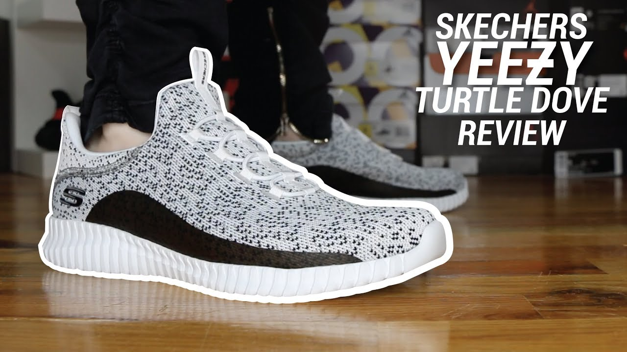 SKECHERS YEEZY TURTLE DOVE REVIEW - YouTube
