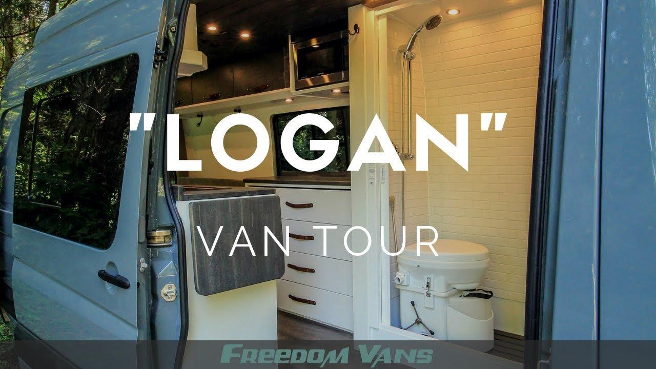 Home On Wheels Sprinter Van Conversion With Bathroom Tour Youtube