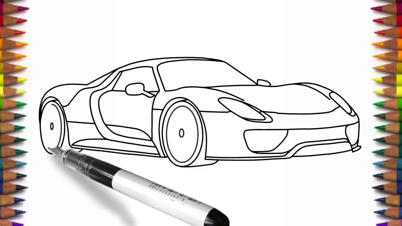 How to draw Porsche 918 easy car drawing - YouTube