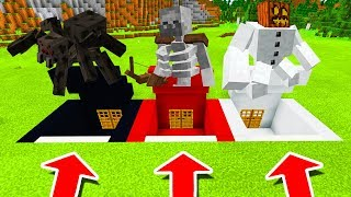Minecraft PE : DO NOT CHOOSE THE WRONG SECRET BASE! (Mutant Spider, Mutant Skeleton & Snow Golem)