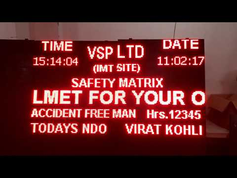 LED Industrial safety data display manufactured by technocratz.in New Delhi. India