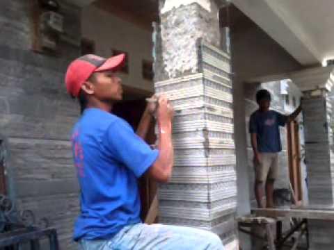 pasangan batu alam alur cacing3 di pilar youtube