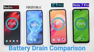 Realme X Battery : Redmi K20 vs Realme X Vs vivo Z1 Pro Vs Redmi Note 7 Pro Battery Drain Comparison