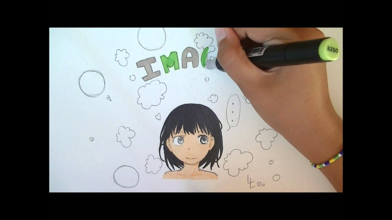 "Dessin petite fille manga - facile et simple- ""Imagine"" - YouTube"