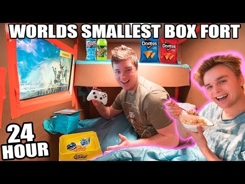 WORLDS SMALLEST BOX FORT 24 HOUR CHALLENGE  Fortnite, Beyblades, Xbox one & More!