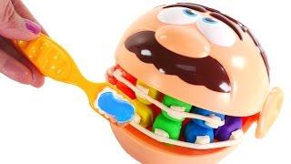 rotten rainbow teeth play doh doctor drill n fill gets braces dentist kit