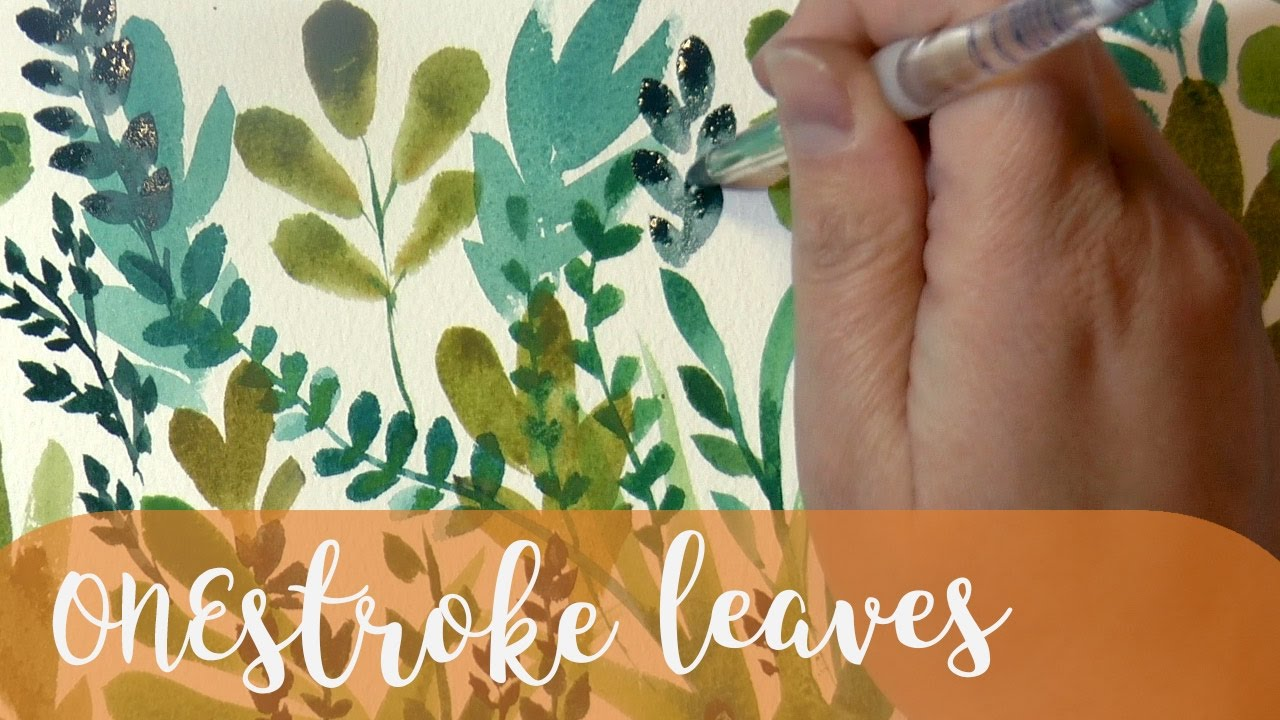Watercolor art history brush - Art Tutorial How To Paint Watercolor Leaves With Just One Brush And One Stroke