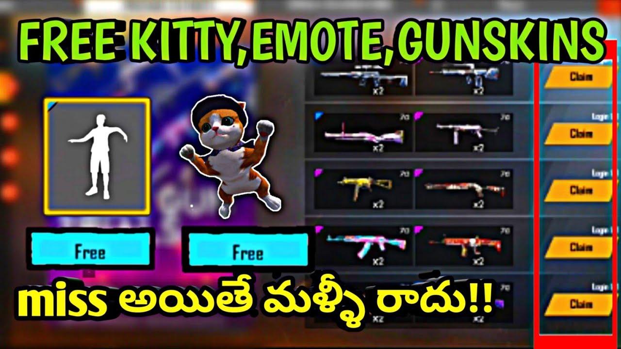 Free Fire Free Kittyfree Kitty Skinfree Emotesfree Gunskins In Telugu