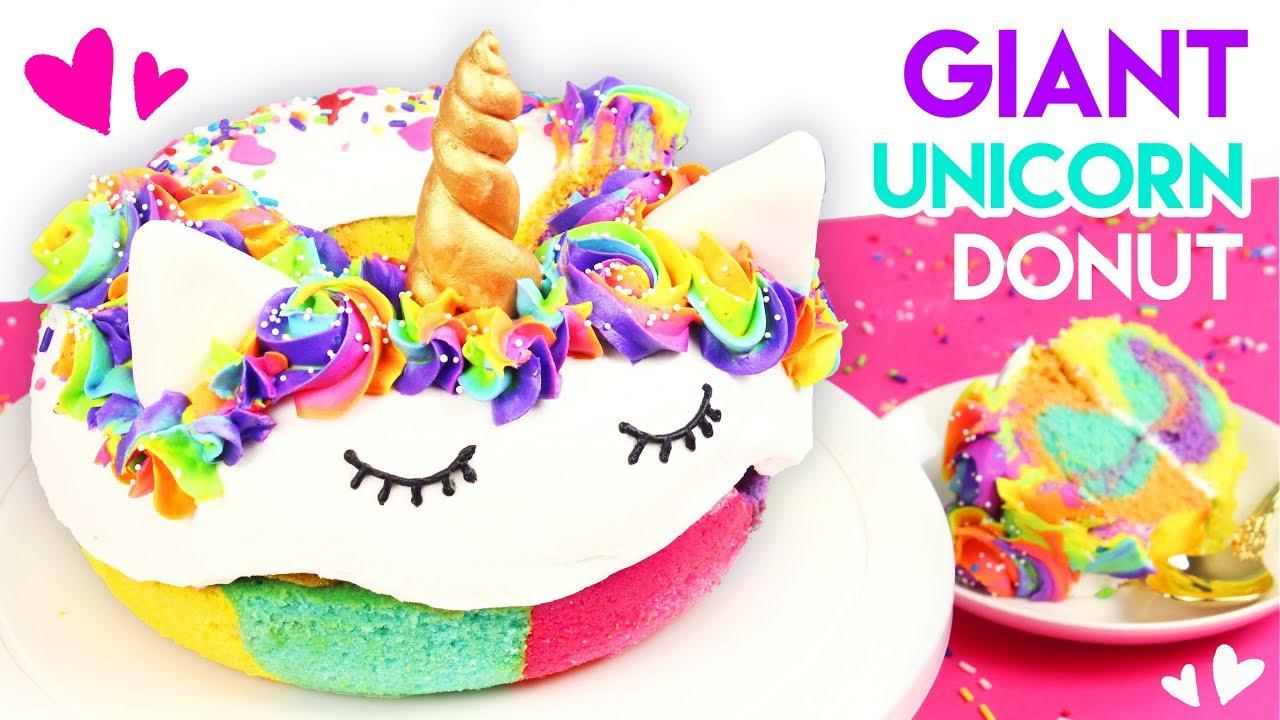 How To Make A GIANT Rainbow Unicorn Donut Cake