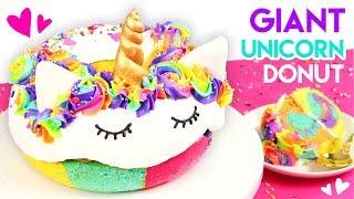 How to Make a GIANT Rainbow Unicorn Donut Cake! 🦄
