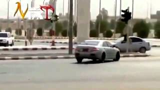Rich people in Dubai racing car with GUN
