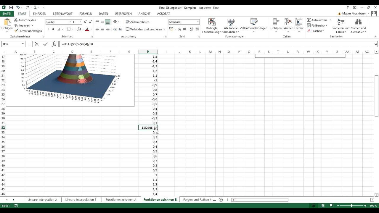 mathe mit excel 3d funktionen zeichnen tutorial youtube. Black Bedroom Furniture Sets. Home Design Ideas
