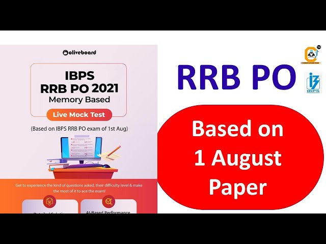 IBPS RRB PO 2021 Memory Based Paper is LIve   Based on 1 August Solve this FREE TEST NOW