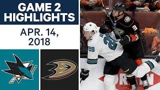 NHL Highlights | Sharks vs. Ducks, Game 2 - Apr. 14, 2018