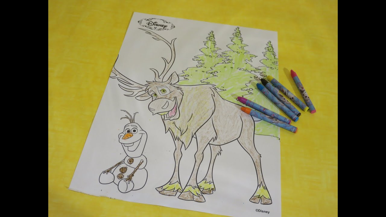 Small Frozen Coloring Pages : Frozen coloring page color sven and olaf the snowman in fast