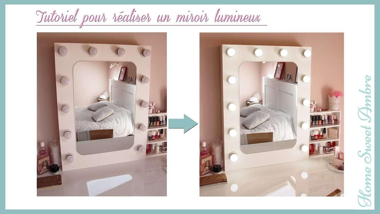 diy miroir lumineux maquillage pro vanity mirror with lights hollywood vanity mirror youtube. Black Bedroom Furniture Sets. Home Design Ideas